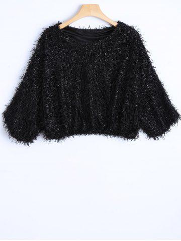 Buy Novelty Faux Mohair Strip Crop Sweater