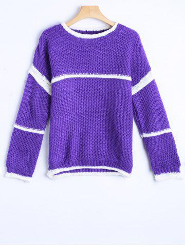 Affordable College Stripy Insert Crochet Sweater