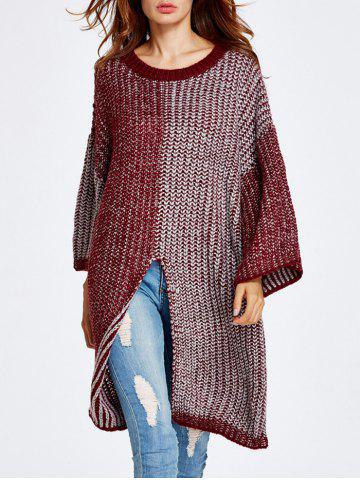 Fancy Streetwear Color Block High Slit Sweater WINE RED ONE SIZE