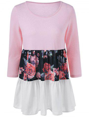 Floral Insert Flounced Blouse - PINK M
