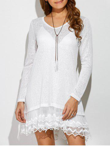 Layered Lace Trim Dress - White - Xl
