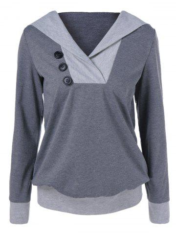 Hot Button Embellished Hoodie GRAY L