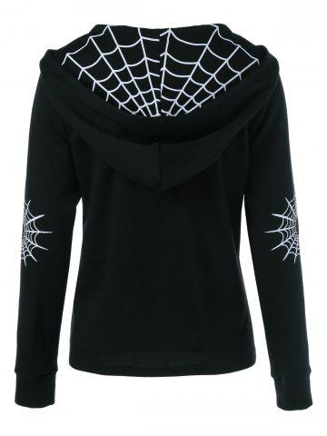 Outfits Spider Web Print Hoodie - L BLACK Mobile