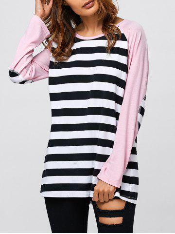 Trendy Striped Trim Elbow Sleeve T-Shirt STRIPE M