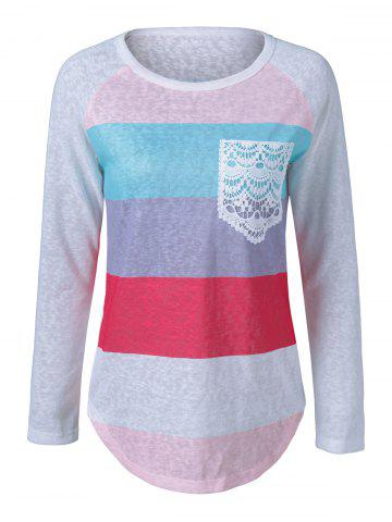 Best Colorful Striped Lace Pocket T-Shirt
