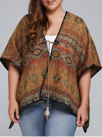 Sale Plus Size Batwing Sleeve Tribal Print Coat