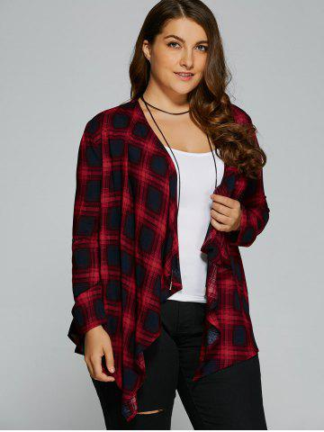 Trendy Plus Size Asymmetrical Plaid Cardigan - 2XL CHECKED Mobile