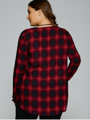 Outfit Plus Size Asymmetrical Plaid Cardigan - 2XL CHECKED Mobile