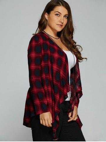 Outfit Plus Size Asymmetrical Plaid Cardigan - XL CHECKED Mobile