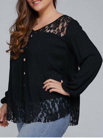 Latest Plus Size Lace Trim Single Breasted Blouse