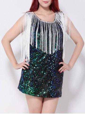Discount Sequined Fringed Cut Out Mini Party Dress