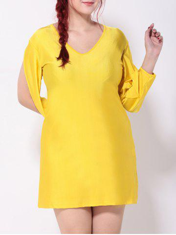 Outfit V Neck Cut Out Split Sleeves Shift Dress DEEP YELLOW 3XL