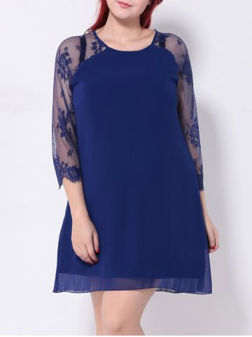 Trendy Mesh Paneled Floral Embroidered Shift Dress