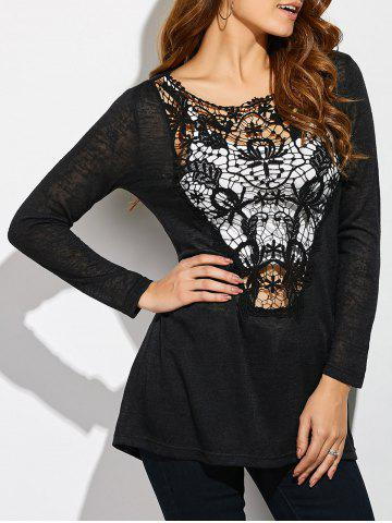 Latest Lace Patchwork Sheer T-Shirt