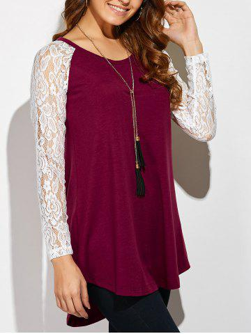 Outfits Lace Sleeve High Low Hem T-Shirt RED/WHITE XL