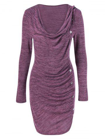 Shop Ruched Button Embellished Heather Dress