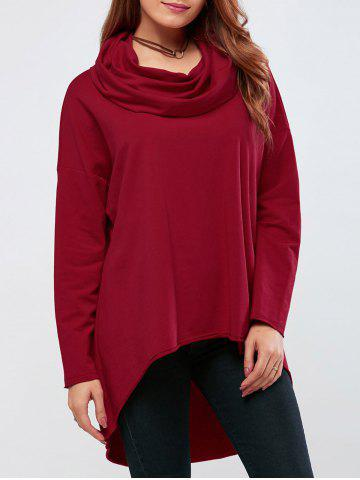 Shops Cowl Neck High Low Hem Pullover RED XL