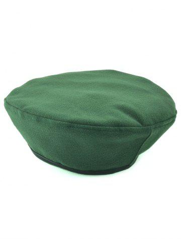 Adjustable Flat Top Beret Cap - Blackish Green - Xl