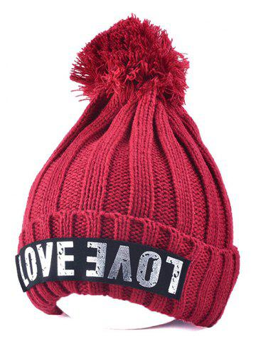 Chic Warm Big Ball Love Letter Knitted Beanie WINE RED