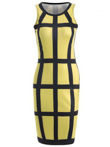 Shop Sleeveless Checked Pencil Knee Length Dress YELLOW L