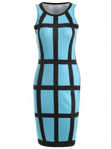 Outfits Sleeveless Checked Pencil Knee Length Dress AZURE S