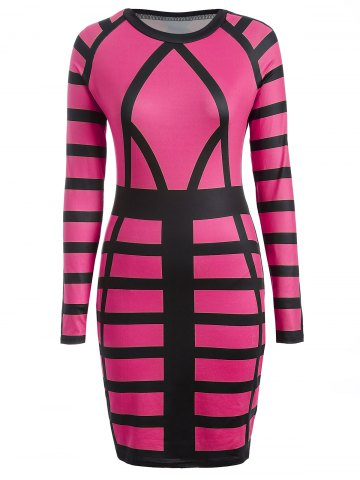 Trendy Bandage Bodycon Midi Dress with Long Sleeves ROSE RED L