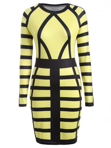 Outfits Color Block Long Sleeve Bodycon Sheath Dress YELLOW M