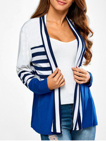 Best Ruffles Splicing Striped Cardigan BLUE AND WHITE XL