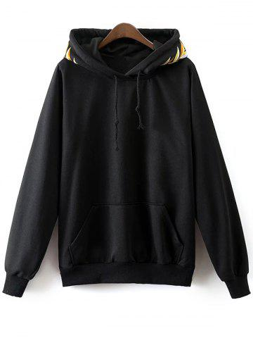 Unique Front Pocket Drawstring Embroidered Hoodie