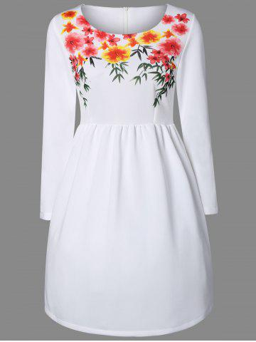 Latest Floral Print A-Line Long Sleeve Dress