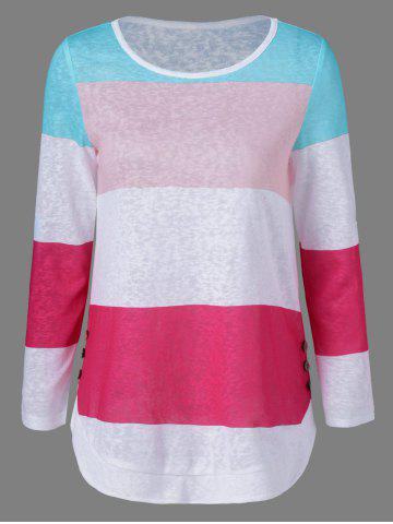 New Button Embellished Colorful Striped T-Shirt