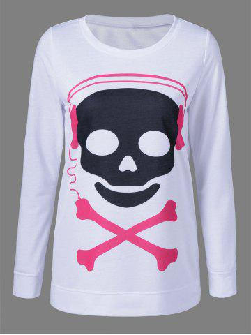 Sale Skull Long Sleeve T-Shirt WHITE XL