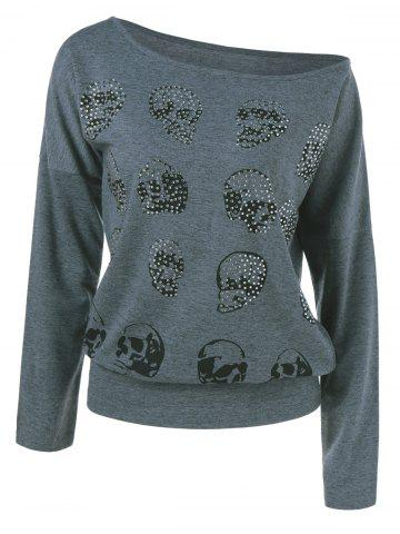 Trendy Rhinestoned Skull Pattern Sweatshirt