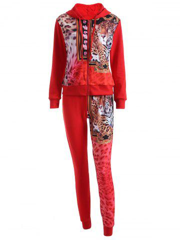 Leopard Drawstring Hoodie and Pants Set - Red - L