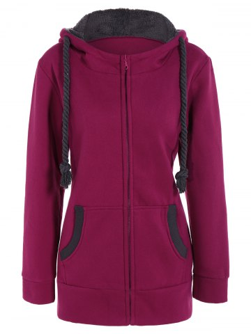 Unique Drawstring Zip Up Fleece Hoodie ROSE MADDER L