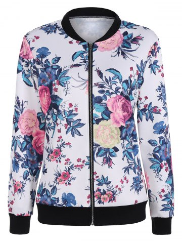 Latest Floral Print Zipper Bomber Jacket