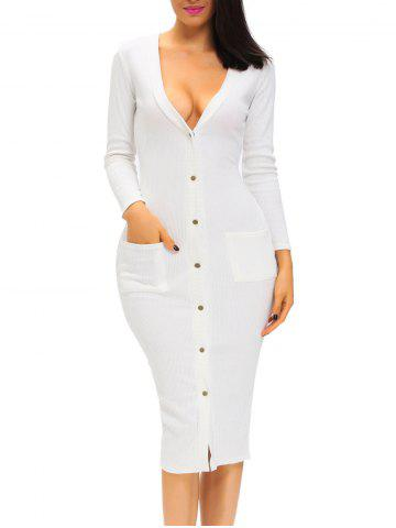 Latest Button Up Fitted Long Sleeve Plunge Dress WHITE S