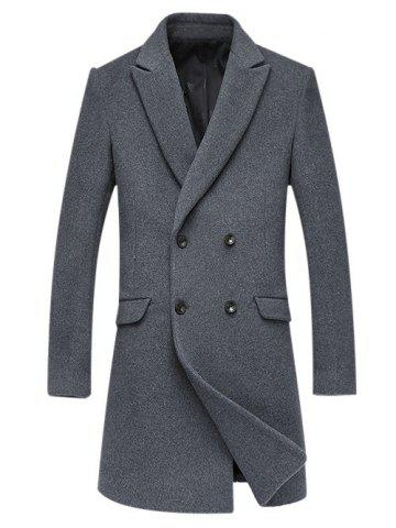 Shops Woolen Blend Double Breasted Lapel Coat