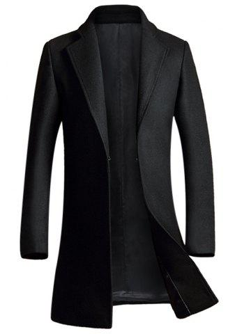 Hot Lapel Pocket Design Woolen Blend Coat