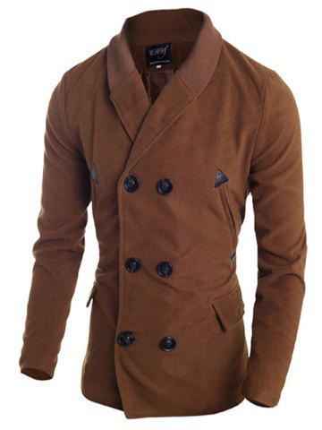 Hot Ribbed Shawl Collar Back Vent Double Breasted Jacket DEEP BROWN M