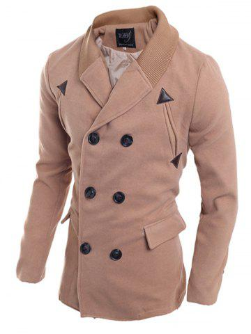 Ribbed Shawl Collar Back Vent Double Breasted Jacket - Light Brown - M