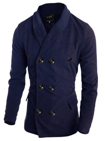 Ribbed Shawl Collar Back Vent Double Breasted Jacket - Cadetblue - M