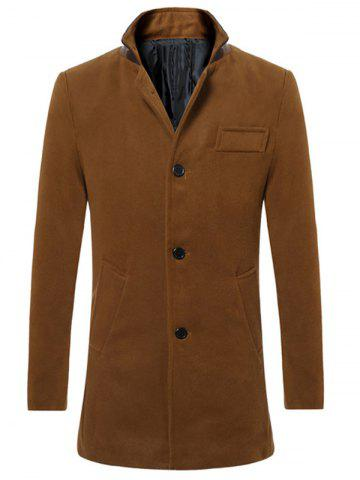 Outfits Stand Collar Button Up Back Vent Woolen Coat CAMEL 2XL