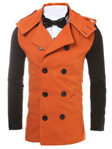Epaulet Design Back Vent Two Tone Pea Coat - Orange - 2xl