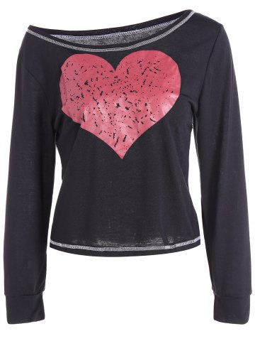 Store Scoop Neck Heart Pattern Cropped T-Shirt BLACK XL