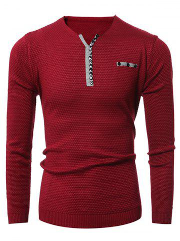 Discount Notch Neck Button Embellished Texture Sweater RED 3XL