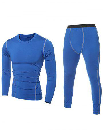Fashion Contrast Stitching T-Shirt and Skinny Gym Pants Twinset BLUE 2XL