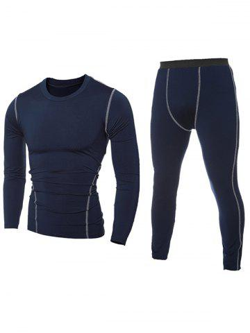 Contrast Stitching T-Shirt and Skinny Gym Pants Twinset - Cadetblue - M