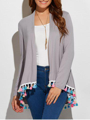 Unique Fringes Collarless Cardigan