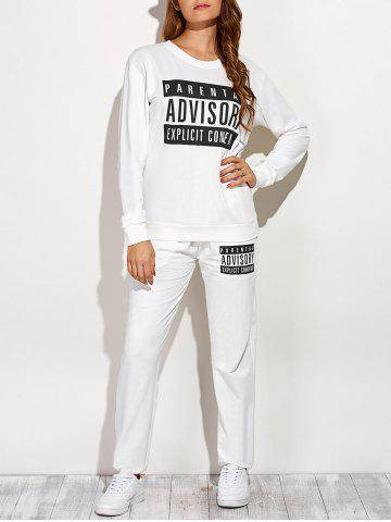 Outfits Casual Letter Sweatshirt and Drawstring Sports Pants